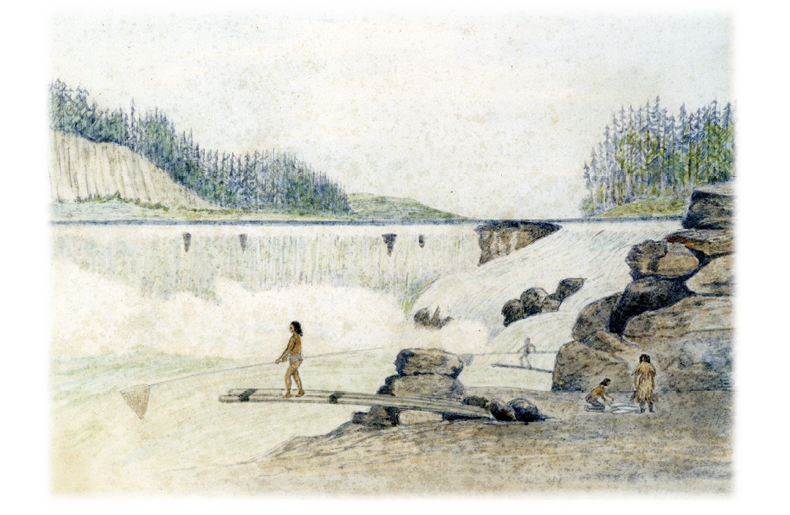 Indians fishing at Willamette Falls near Oregon City
