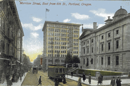 An old postcard captures the view of Pioneer courthouse around the turn of the century.