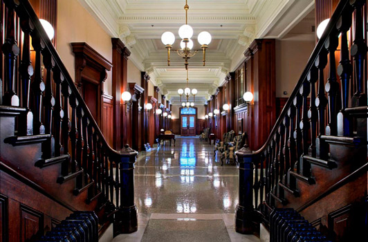 The restored main lobby of Pioneer Courthouse. Visit the The Restored Courthouse gallery to see more images.